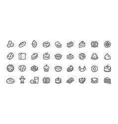 bread line icons bakery and dessert with vector image
