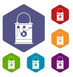 Bucket with paint icons set vector