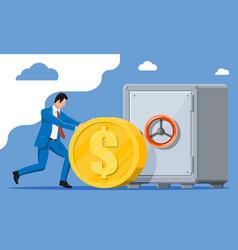 Businessman depositing his money in bank in safe vector