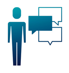 businessman with speech bubbles communication vector image