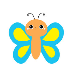 butterfly flying insect icon blue yellow color vector image