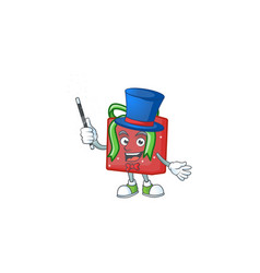 Cartoon character red gift box magician style vector