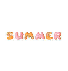 Cartoon donut and word summer hand drawn drawing vector