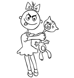 Childrens cruelty girl torturing a cat humor vector