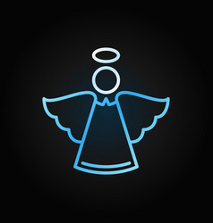 christmas angel blue modern icon in outline vector image
