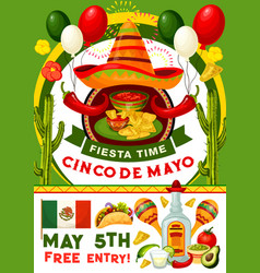 cinco de mayo party invitation of mexican holiday vector image