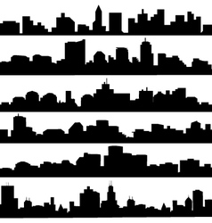 City skyline Silhouette set vector
