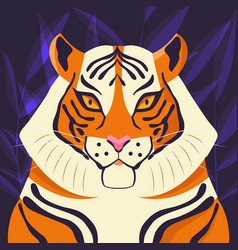 Colorful portrait beautiful tiger on purple vector