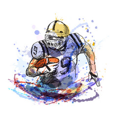 colorful sketch player of american football vector image