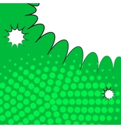 Comic pop art green background with halftone vector