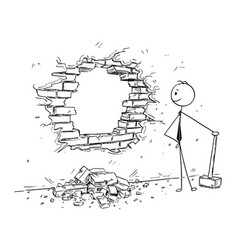 Conceptual cartoon of businessman breaking a wall vector