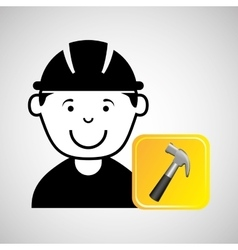construction worker hammer graphic vector image