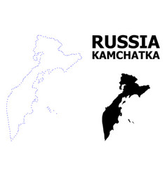 Contour dotted map kamchatka peninsula vector