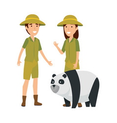 Couple of workers zoo with panda bear vector