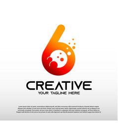 Creative logo with initial six letter technology vector