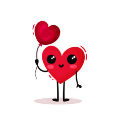 cute humanized heart holding glossy balloon in vector image