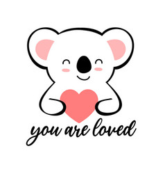 cute sloth and heart print design with slogan vector image