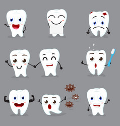 cute tooth cartoon collection set vector image