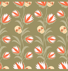 day dead pattern with garlands flowers vector image