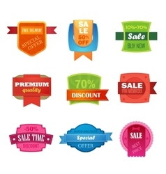 Discount sale sticker isolated set vector image