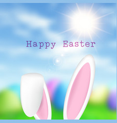 easter bunny ears on defocussed background vector image