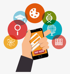 Electronic learning with smartphone vector