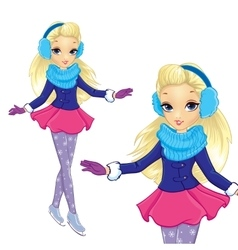 Fashion Blonde Girl Skates vector image