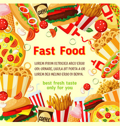 fast food poster with fastfood meal drink frame vector image