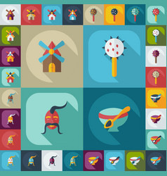 Flat concept set modern design with shadow cossack vector