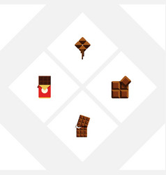 flat icon bitter set of chocolate bar delicious vector image