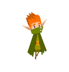 forest elf boy in green cape cute fairytale magic vector image