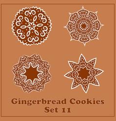 gingerbread snowflakes cookies set merry vector image