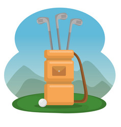 Golf bag and clubs icons vector