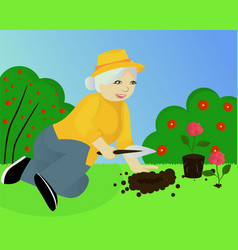 Granny in the garden vector