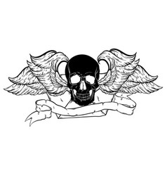 hand drawn envelope with human skull and wings vector image
