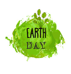 happy earth day watercolor ink texture background vector image