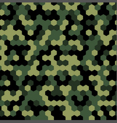Hexagon forest camouflage seamless patterns vector