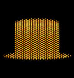 hexagon halftone gentleman hat icon vector image