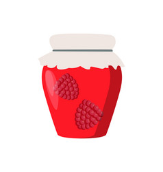Home cooking raspberry preserve glass vector