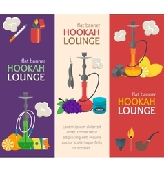 Hookah Banner Flat Design Style vector