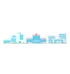 Hospital building medical office set cartoon vector