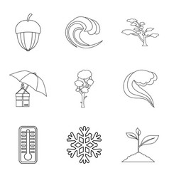 Hvac icons set outline style vector