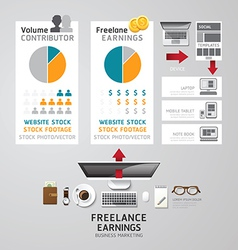 Infographic business freelance flat lay idea conce vector