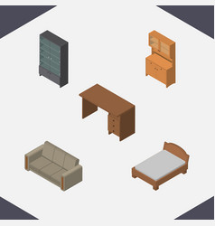 Isometric design set of cupboard couch table and vector