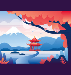 japanese red castle and snowy fuji mountain peak vector image