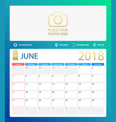 june 2018 calendar or desk vector image