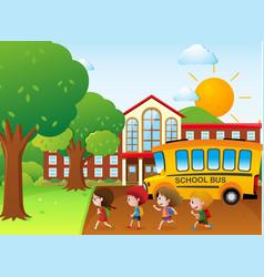 Kids going to school by school bus vector