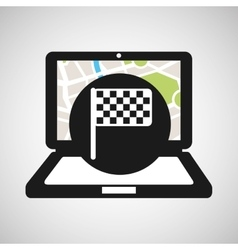 Laptop flag map gps vector