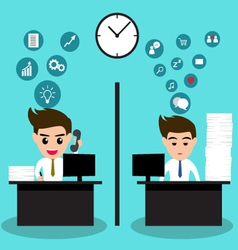 Lazy and active business man in same office vector