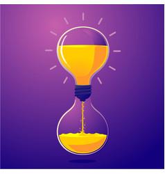 light bulb and sand clock creative idea vector image